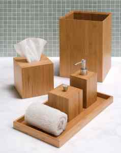 Bamboo Bathroom Accessory Set