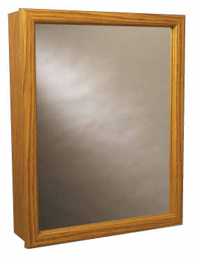 Mirrored Swing Door Medicine Cabinet with Wood Frame